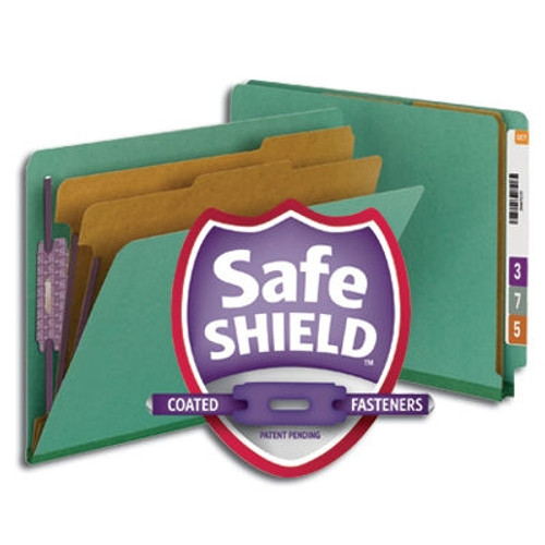 Smead End Tab Pressboard Classification Folder with SafeSHIELD Fasteners, 2 Dividers, Green (26785)