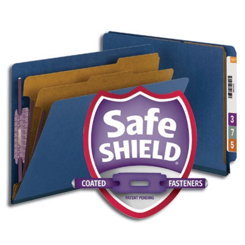 Smead End Tab Pressboard Classification Folder with SafeSHIELD Fasteners, 2 Dividers, Dark Blue (26784)