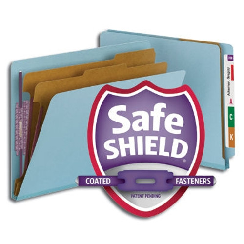 Smead End Tab Pressboard Classification Folder with SafeSHIELD Fasteners, 2 Dividers, Letter Size, Blue (26781)