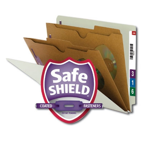 Smead End Tab Classification File Folder with SafeSHIELD Fasteners, 2 Pocket-Style Divider, Letter Size, Gray/Green, 10 per Box (26710)