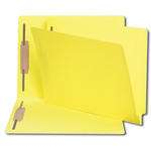 Smead End Tab Fastener File Folder, Shelf-Master Reinforced Straight-Cut Tab, 2 Fasteners, Letter Size, Yellow, 50 per Box (25940) - 5 Boxes