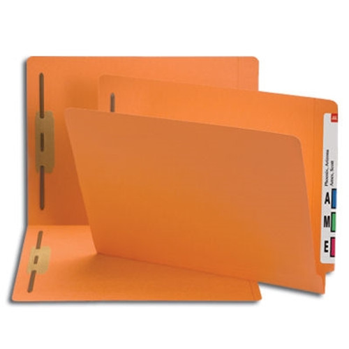 Smead End Tab Fastener File Folder, Shelf-Master Reinforced Straight-Cut Tab, 2 Fasteners, Letter Size, Orange, 50 per Box (25640)