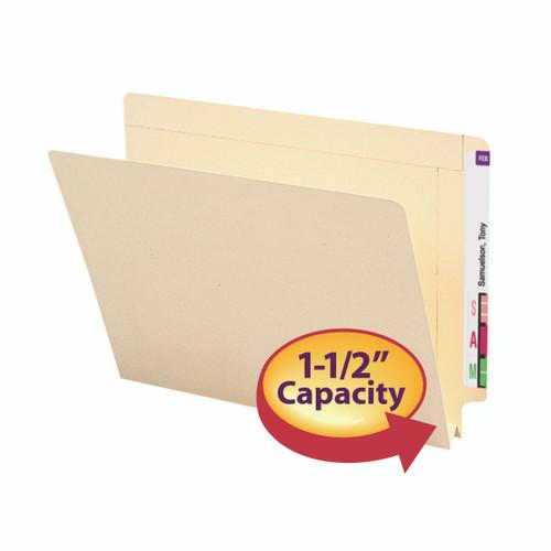 "Smead End Tab File Folder, Reinforced Straight-Cut Tab, 1-1/2"" Accordion Expansion, Letter Size, Manila, 50 per Box (24275)"