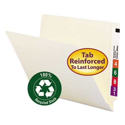 Smead End Tab 100% Recycled File Folder, Shelf-Master Reinforced Straight-Cut Tab, Letter Size, Manila, 100 per Box (24160)