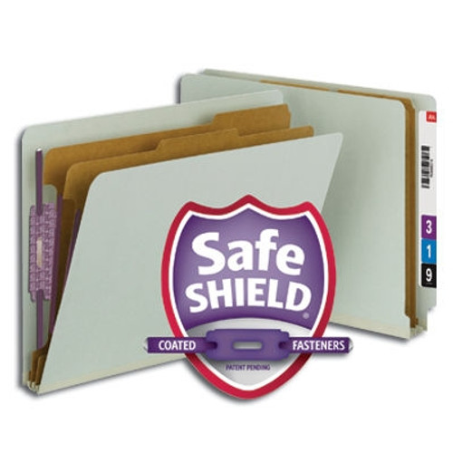 Smead End Tab Pressboard Classification Folder with SafeSHIELD Fasteners, 2 Dividers, Gray/Green (26810) - Total of 5