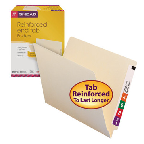 Smead End Tab File Folder, Shelf-Master® Reinforced Straight-Cut Tab, Letter Size, Manila, Carton of 500