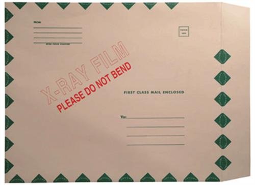 X-Ray Film Mailers - 15 X 18 -  11 pt. Manila Stock - Green Diamond Border - X-Ray Imprint - Peel & Seal - 50 per Carton