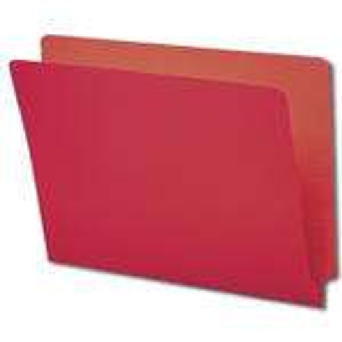 Smead Colored End Tab File Folder, Shelf-Master Reinforced Straight-Cut Tab, Letter Size, Red, 100 per Box (25710)