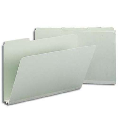 "Smead Pressboard File Folder, 1/3-Cut Tab, 2"" Expansion, Legal Size, Gray/Green, 25 per Box (18234) - 5 Boxes"