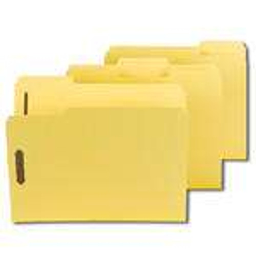 "Smead Pressboard Fastener File Folder with SafeSHIELD Fasteners, 2 Fasteners, 1/3-Cut Tab, 2"" Expansion, Letter Size, Yellow (14939) - Total of 5 Boxes - 25 per Box"