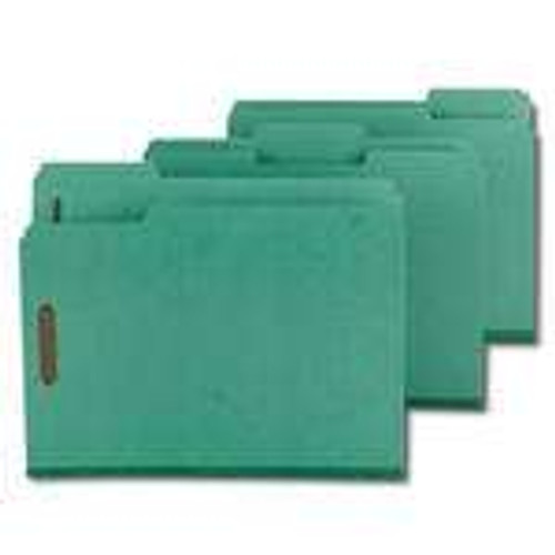 "Smead Pressboard Fastener File Folder with SafeSHIELD Fasteners, 2 Fasteners, 1/3-Cut Tab, 2"" Expansion, Letter Size, Green (14938) - Total of 5 Boxes - 25 per Box"