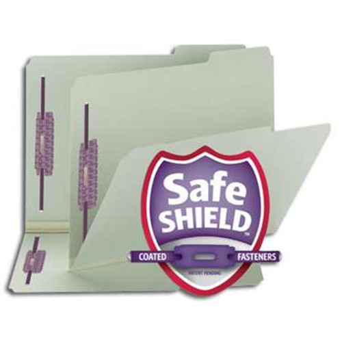 "Smead Pressboard File Folder with SafeSHIELD Fasteners, 2 Fasteners, 1/3-Cut Tab, 2"" Expansion, Letter Size, Gray/Green, 25 per Box (14934) - 5 Boxes"