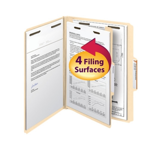 Smead Fastener Heavy-Duty File Folder with Divider, 2 Fasteners, Reinforced 1/3-Cut Tab, Letter Size, Manila - 10/Box - (14560)
