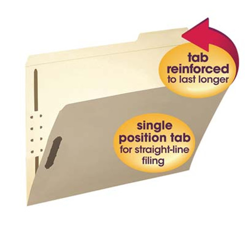 Smead 14538 Top Tab with 2 Embedded Fasteners in Positions 1 & 3, Reinforced 1/3-Cut Tab in Right Position Only, Letter Size, Manila - 50/Box