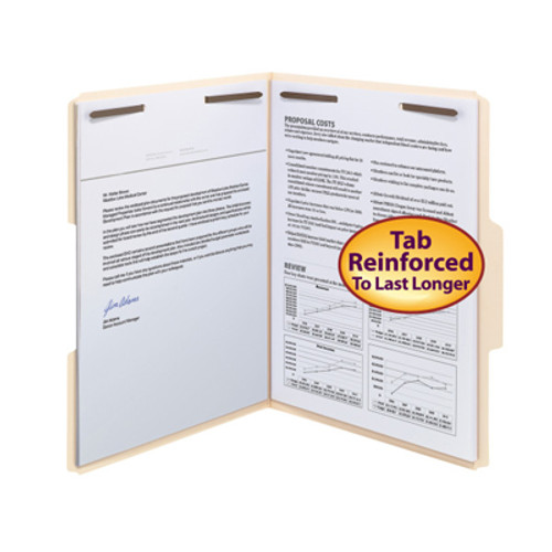 Smead 14537  Top Tab Folder with Embedded Fasteners in Positions 1 & 3  - Reinforced 1/3-Cut  Top Tab in Assorted Positions, Letter Size, 11 Pt. Manila, Total of 250