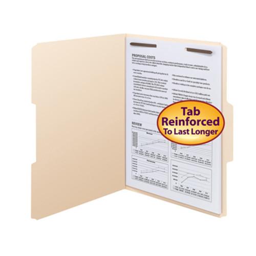 Smead 14534  Fastener File Folder, 1 Fastener in Position 1, Reinforced 1/3-Cut Tab, Letter Size, Manila (14534) - Carton of 250