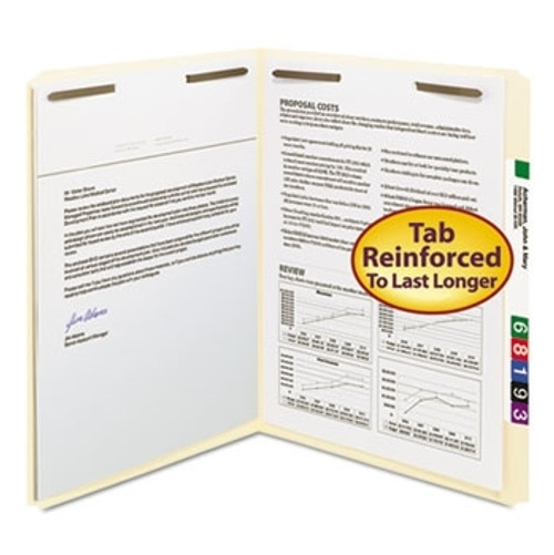 Smead Fastener File Folder, 2 Fasteners in Positions 1 & 3, Reinforced Straight-Cut Tab, Letter Size, 11 Pt. Manila (14513) - Carton of 250
