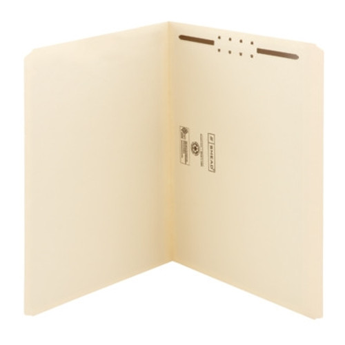 Smead Fastener File Folder, 1 Fastener, Reinforced Straight-Cut Tab, Letter, Manila (14510) - Total of 5