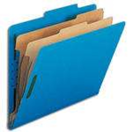 "Smead Pressboard Classification File Folder with SafeSHIELD Fasteners, 2 Dividers, 2"" Expansion, Letter Size, Dark Blue, 10 per Box (14032)"