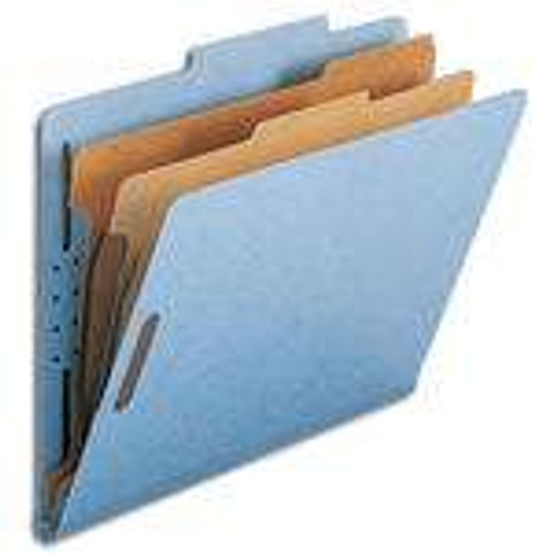 "Smead Pressboard Classification File Folder with SafeSHIELD Fasteners, 2 Dividers, 2"" Expansion, Letter Size, Blue, 10 per Box (14030)"