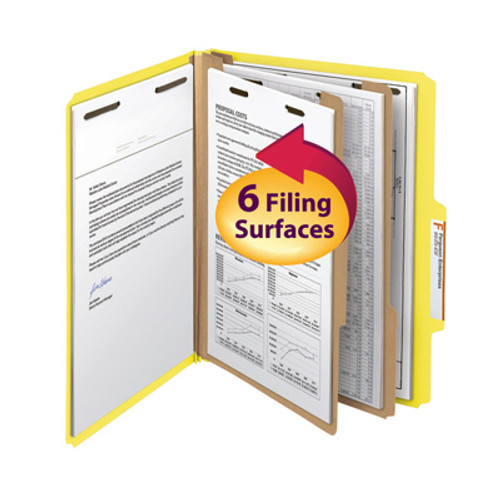 """Smead Classification File Folder, 2 Divider, 2"""" Expansion, Letter Size, Yellow, 10 per Box (14004) - 5 Boxes"""