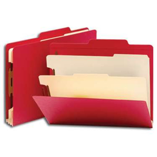 """Smead Classification File Folder, 2 Divider, 2"""" Expansion, Letter Size, Red, 10 per Box (14003) - 5 Boxes"""