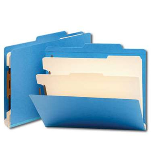 "Smead Classification File Folder, 2 Divider, 2"" Expansion, Letter Size, Blue, 10 per Box (14001) - 5 Boxes"