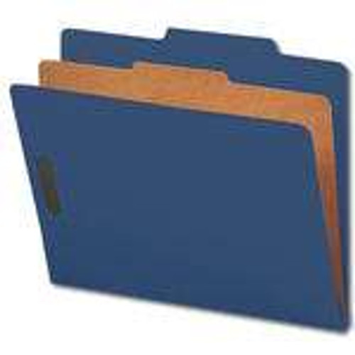 "Smead Pressboard Classification File Folder with SafeSHIELD Fasteners, 1 Divider, 2"" Expansion, Letter Size, Dark Blue, 10 per Box (13732)"