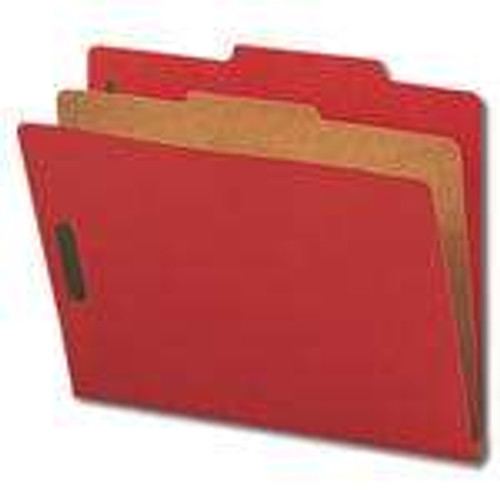 "Smead Pressboard Classification File Folder with SafeSHIELD Fasteners, 1 Divider, 2"" Expansion, Letter Size, Bright Red,10 per Box (13731)"