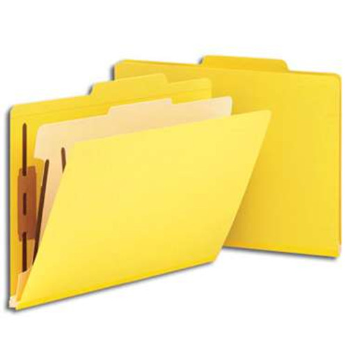 """Smead Classification File Folder, 1 Divider, 2"""" Expansion, Letter Size, Yellow, 10 per Box (13704) - 5 Boxes"""