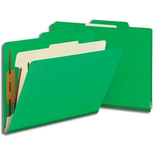 "Smead Classification File Folder, 1 Divider, 2"" Expansion, Letter Size, Green, 10 per Box (13702) - 5 Boxes"