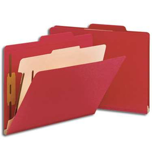 """Smead Classification File Folder, 1 Divider, 2"""" Expansion, Letter Size, Red, 10 per Box (13703) - 5 Boxes"""