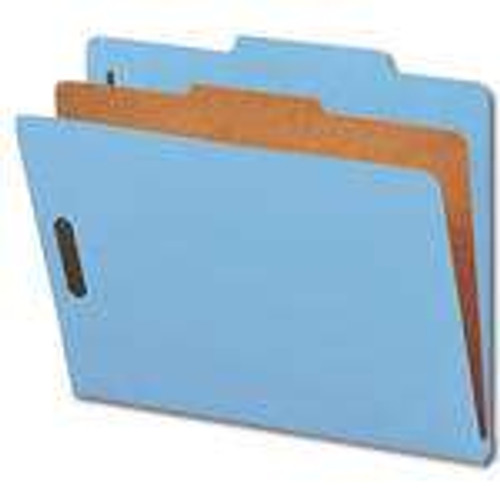 "Smead Pressboard Classification File Folder with SafeSHIELD Fasteners, 1 Divider, 2"" Expansion, Letter Size, Blue, 10 per Box (13730)"