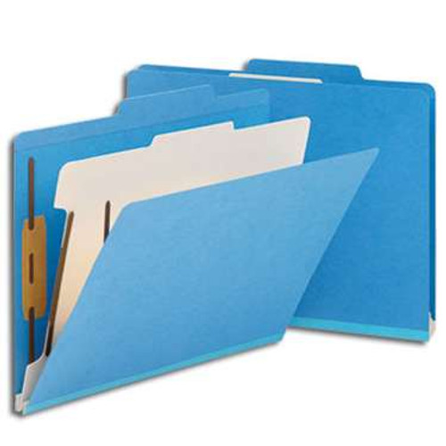 "Smead Classification File Folder, 1 Divider, 2"" Expansion, Letter Size, Blue, 10 per Box (13701) - 5 Boxes"