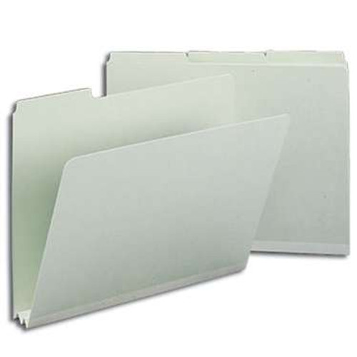 "Smead Pressboard File Folder, 1/3-Cut Tab, 2"" Expansion, Letter Size, Gray/Green, 25 per Box (13234) - 5 Boxes"
