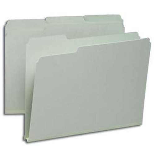 "Smead Pressboard File Folder, 1/3-Cut Tab, 1"" Expansion, Letter Size, Gray/Green, 25 per Box (13230) - 5 Boxes"
