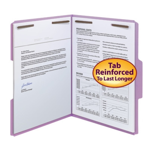 Smead Fastener File Folder, 2 Fasteners, Reinforced 1/3-Cut Tab, Letter Size, Lavender, 50 per Box (12440)