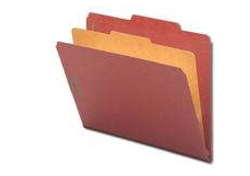 "Smead Pressboard Classification File Folder with SafeSHIELD Fasteners, 1 Divider, 2"" Expansion, Letter Size, Red, 10 per Box (13775) - 5 Boxes"