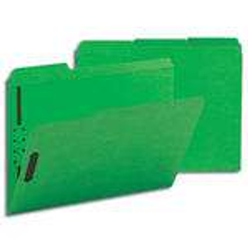 Smead Fastener File Folder, 2 Fasteners, Reinforced 1/3-Cut Tab, Letter Size, Green, 50 per Box (12140) - 5 Boxes
