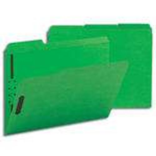 Smead Fastener File Folder, 2 Fasteners, Reinforced 1/3-Cut Tab, Letter Size, Green, 50 per Box (12140) - 5 Boxes