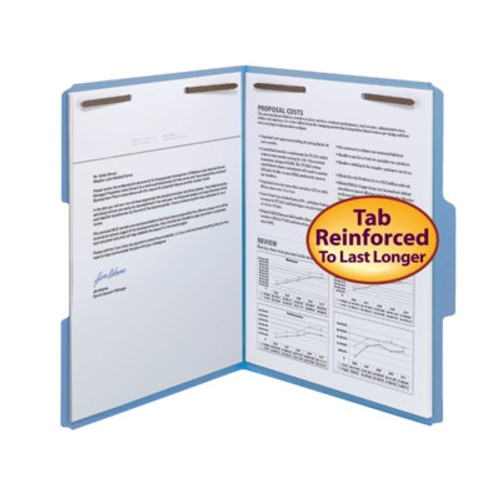 Smead Fastener File Folder, 2 Fasteners, Reinforced 1/3-Cut  Top Tab, Letter Size, Blue, 50 per Box - 5 Box Minimum (12040) - 5 Boxes