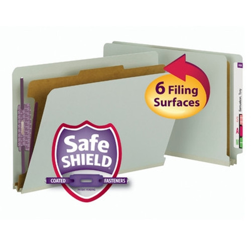 Smead End Tab Pressboard Classification Folder with SafeSHIELD Fasteners, 1 Divider, Legal, Gray/Green (29800) - Total of 5