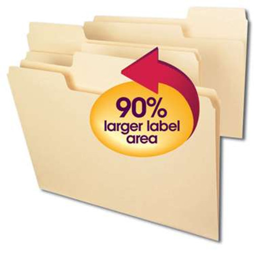 Smead SuperTab File Folder, Oversized Reinforced 1/3-Cut Tab, Guide Height, Letter Size, Manila, 100 Per Box (10395) - 5 Boxes