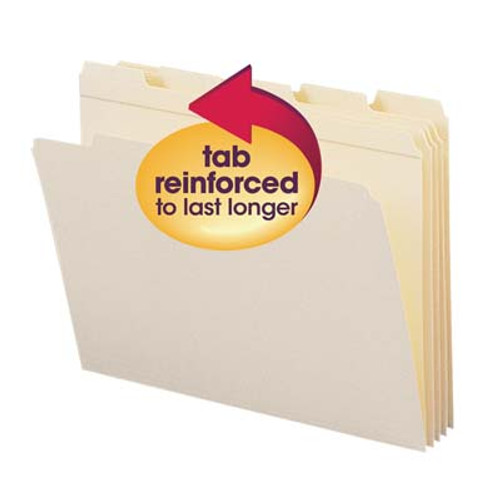 Smead 10356  File Folder, Reinforced 1/5-Cut Tab, Letter Size, Manila,  Carton of 500