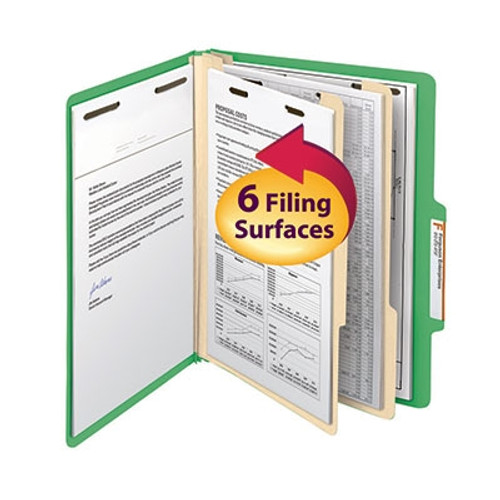 "Smead Classification File Folder, 2 Divider, 2"" Expansion, Letter Size, Green, 10 per Box (14002) - 5 Boxes"