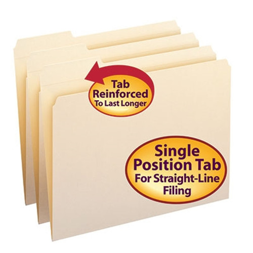 Smead File Folders, Reinforced 1/3-Cut Tab Left Position, Letter Size, Manila, 100 Per Box (10335) - 5 Boxes