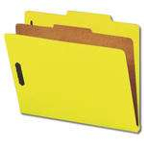 "Smead Pressboard Classification Folder with SafeSHIELD Fasteners, 1 Divider, 2"" Expansion, Letter Size, Yellow, 10 per Box (13734)"