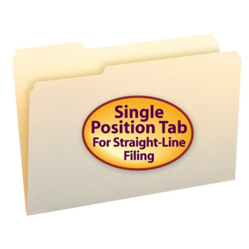 Smead File Folder, 1/3-Cut Left Position, Letter Size, Manila, 100 Per Box (10331) - 5 Boxes