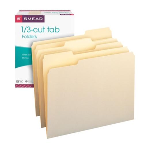 Smead Manila File Folder, 1/3-Cut Tab, Letter Size, Manila, 100 per Box (10330) - 5 Boxes