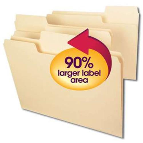 Smead SuperTab File Folder, Oversized 1/3-Cut Tab, Letter Size, Manila, 100 Per Box (10301) - 5 Boxes